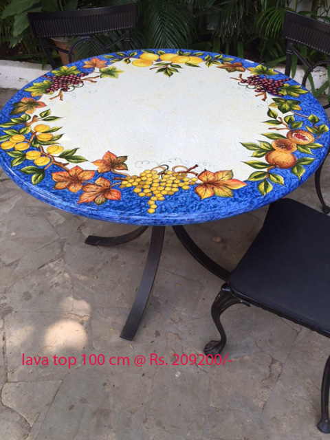 Blue table top with wooden base