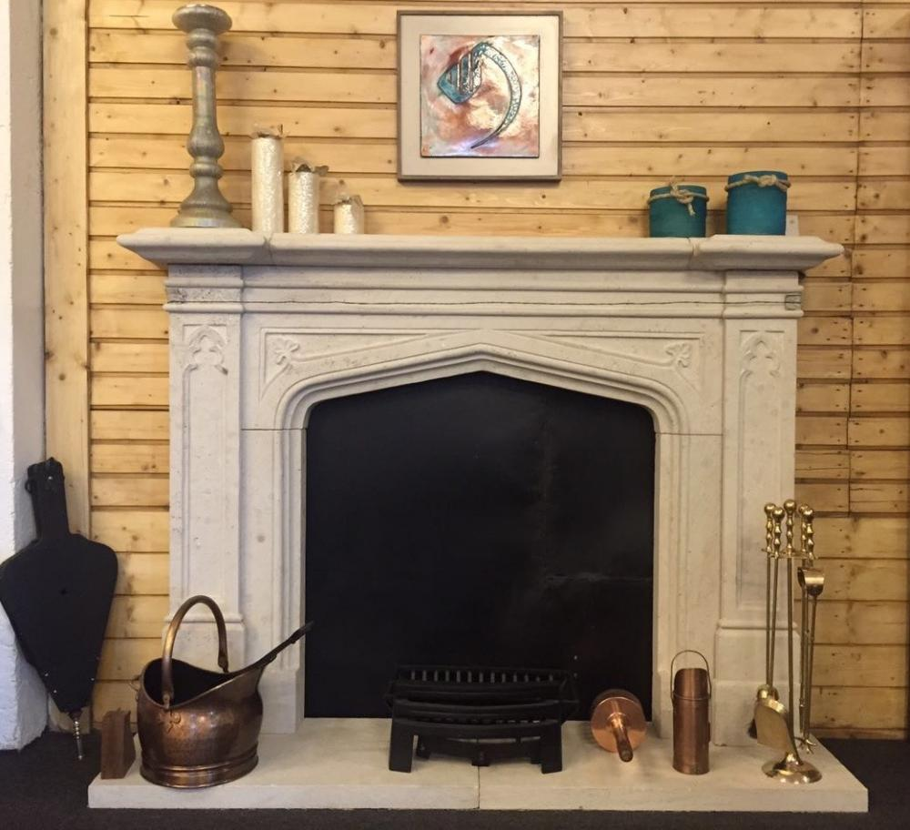 Mock fireplace with accessories