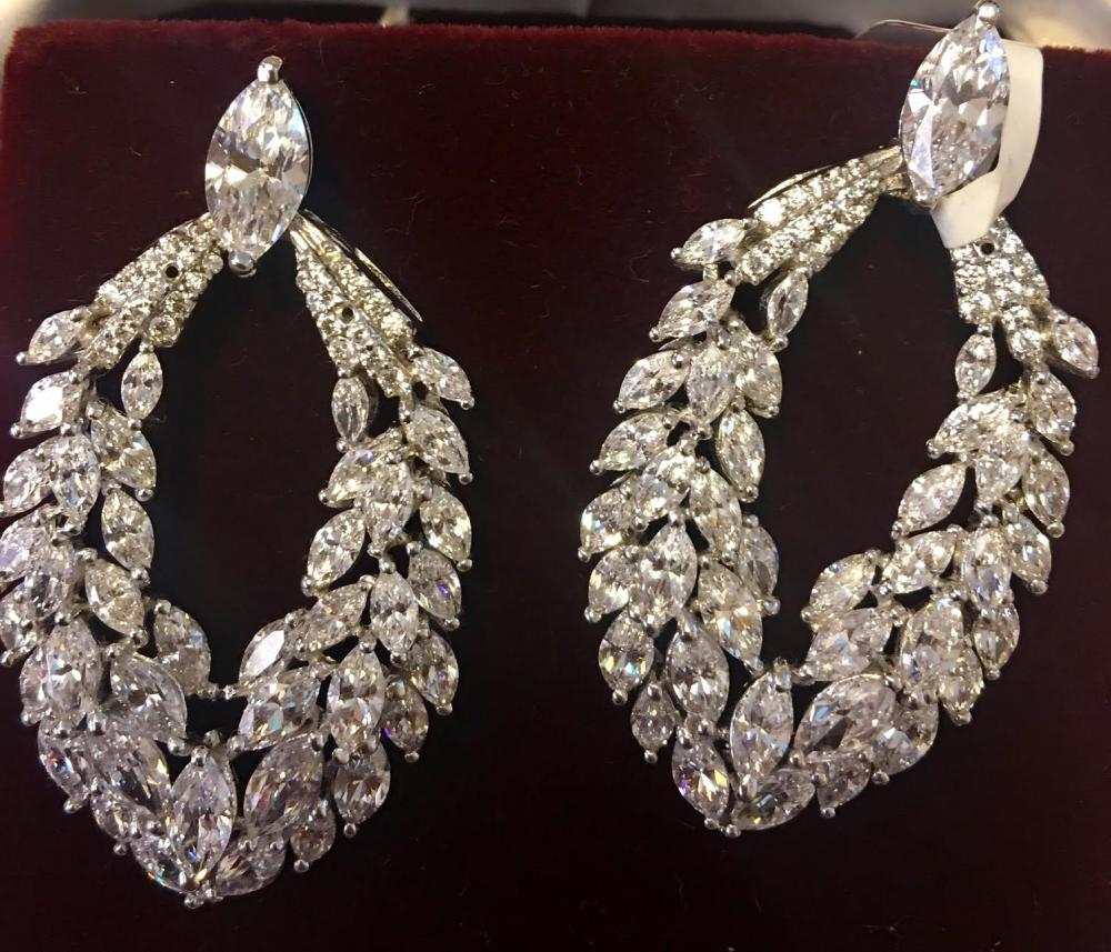 Marquis long earrings