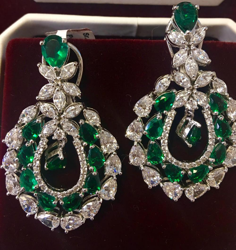 Marquis emerald earrings
